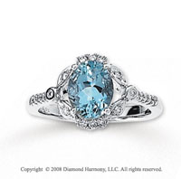 1/6 Carat Diamond Aquamarine 14k White Gold Ring