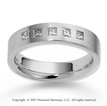 14k White Gold 5.5mm FCF 1/2  Carat Diamond Anniversary Band