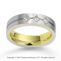 14k Two Tone Gold 5.5mm FCF .30  Carat Diamond Anniversary Band