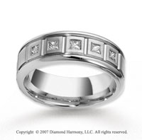 14k White Gold 8mm CF .35  Carat Diamond Anniversary Band