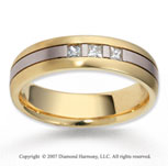 14k Two Tone Gold Carved 6mm FCF Diamond Anniversary Band