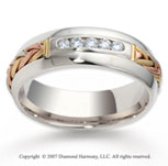 14k Tri-Tone Hand Woven 7mm CF Diamond Anniversary Band