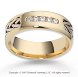 14k Two Tone Gold Hand Woven 7mm CF Diamond Anniversary Band