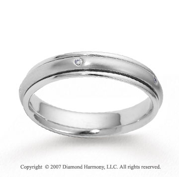 14k White Gold Shiny 4mm FCF Diamond Anniversary Band