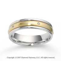 14k Two Tone Gold Shiny 5mm CF Diamond Anniversary Band