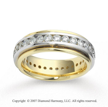 14k Two Tone Gold 6.5mm FCF 2.60  Carat Diamond Anniversary Band