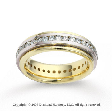 14k Two Tone Gold Shiny 6mm FCF 1.29  Carat Diamond Anniversary Band