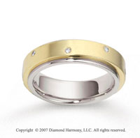 14k Two Tone Gold Shiny 6mm FCF Diamond Anniversary Band