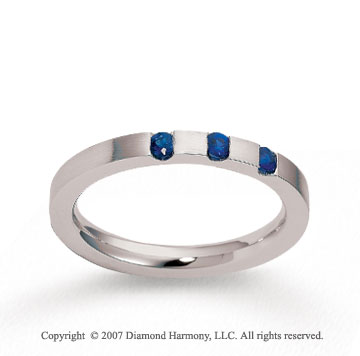14k White Gold 2.5mm CF Blue Sapphire Anniversary Band