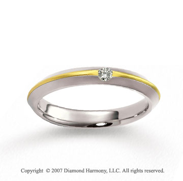 14k Two Tone Gold Sleek 4mm FCF Diamond Anniversary Band
