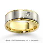 14k Two Tone Gold Shiny 8mm FCF Diamond Anniversary Band