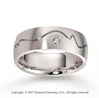 14k White Gold Carved 8mm FCF Diamond Anniversary Band