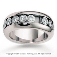 14k White Gold 9mm Flat 1.43  Carat Diamond Anniversary Band