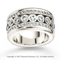 14k White Gold 11.5mm Flat 2.33  Carat Diamond Anniversary Band