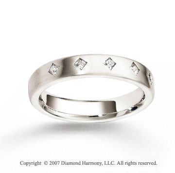 14k White Gold 4mm FCF 1/4  Carat Diamond Anniversary Band