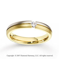 14k Two Tone Gold Shiny 4mm CF Diamond Anniversary Band
