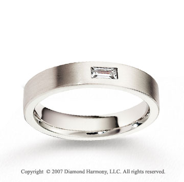 14k White Gold 4mm FCF Baguette Diamond Anniversary Band