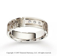 14k White Gold Carve 6mm FCF Diamond Anniversary Band