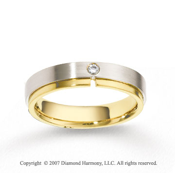 14k Two Tone Gold Shiny 5mm FCF Diamond Anniversary Band