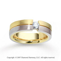 18k Two Tone Gold Stylish 6mm FCF Diamond Anniversary Band