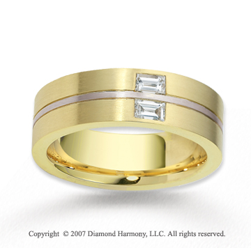 18k Two Tone Gold 7.5mm FCF .40  Carat Diamond Anniversary Band
