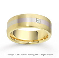 18k Two Tone Gold Stylish 7.5mm FCF Diamond Anniversary Band