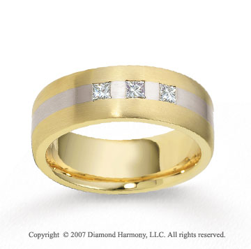 18k Two Tone Gold 7.5mm FCF .39  Carat Diamond Anniversary Band