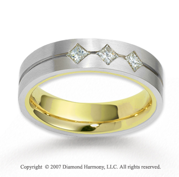 18k Two Tone Gold 5.5mm FCF .30  Carat Diamond Anniversary Band