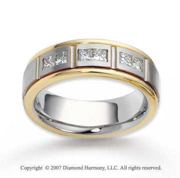 18k Two Tone Gold 6.5mm FCF .30  Carat Diamond Anniversary Band