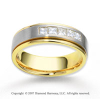 18k Two Tone Gold 7mm FCF .60  Carat Diamond Anniversary Band
