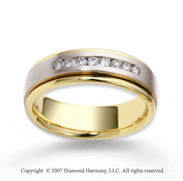 18k Two Tone Gold 7mm FCF 1/2  Carat Diamond Anniversary Band