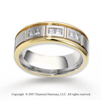 18k Two Tone Gold 7.5mm CF .42  Carat Diamond Anniversary Band