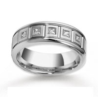 18k White Gold 8mm CF .35  Carat Diamond Anniversary Band