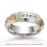 18k Two Tone Gold Braided 7mm CF Diamond Anniversary Band