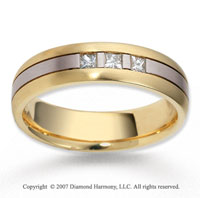 18k Two Tone Gold Carved 6mm FCF Diamond Anniversary Band