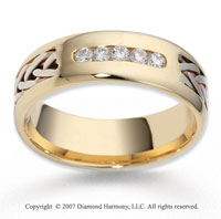 18k Two Tone Gold Hand Woven 7mm CF Diamond Anniversary Band