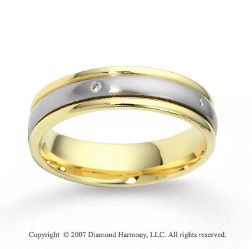 18k Two Tone Gold 4mm FCF Diamond Anniversary Band