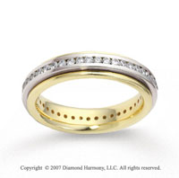 18k Two Tone Gold 4.5mm FCF 1.12  Carat Diamond Anniversary Band