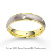 18k Two Tone Gold Braided 4.5mm CF Diamond Anniversary Band