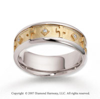 18k Two Tone Gold Cross Carved 7mm FCF Diamond Anniversary Band