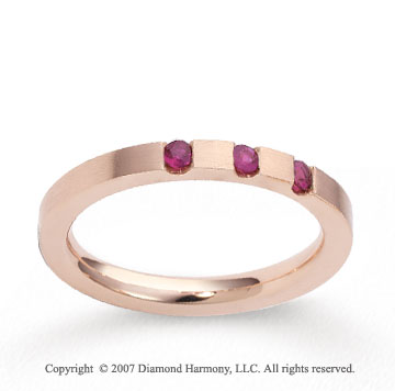 18k Rose Gold Sleek 2.5mm CF Ruby Anniversary Band