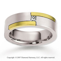 18k Two Tone Gold Stylish 7mm FCF Diamond Anniversary Band