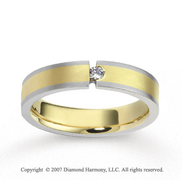 18k Two Tone Gold Stylish 5mm FCF Diamond Anniversary Band