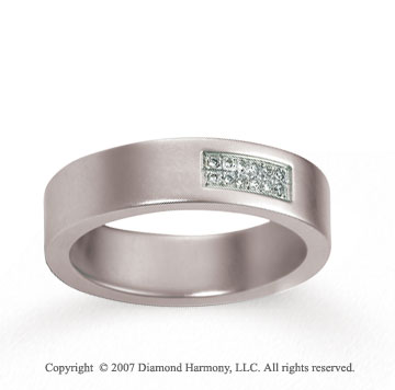 18k White Gold Carved 6mm FCF Diamond Anniversary Band