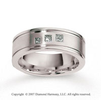 18k White Gold Ridge 8mm CF .28  Carat Diamond Anniversary Band