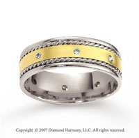 18k Two Tone Gold Braided 7.5mm CF Diamond Anniversary Band