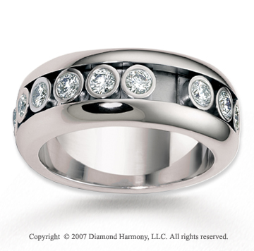 18k White Gold 9mm Flat 1.43  Carat Diamond Anniversary Band