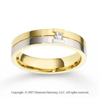 18k Two Tone Gold Shiny 5mm CF Diamond Anniversary Band