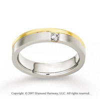 18k Two Tone Gold Shiny 5mm FCF Diamond Anniversary Band