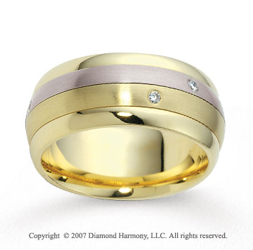 14k Two Tone Gold 9mm Comfort Fit Diamond Wedding Band